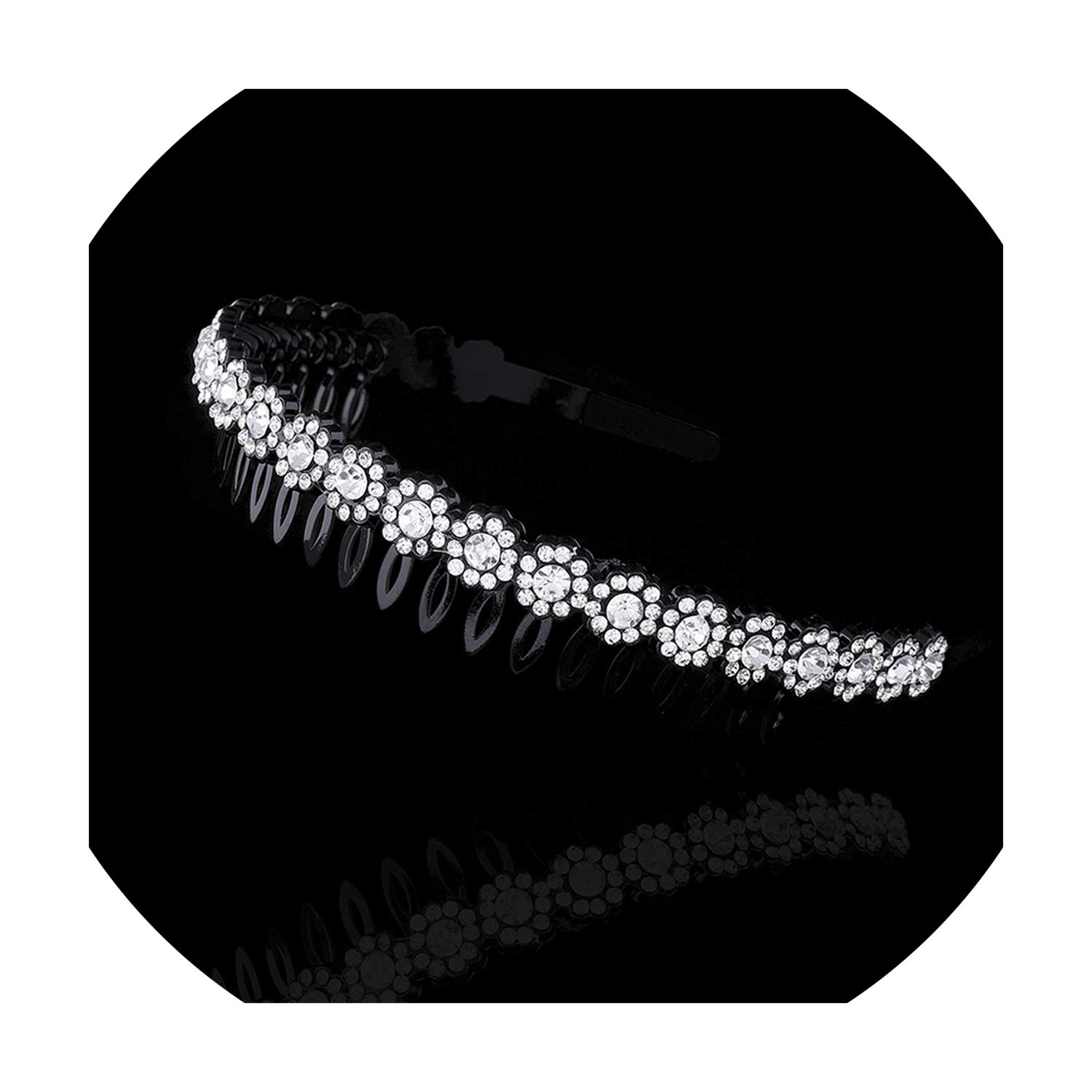 Full Rhinestone Hairband for Women Boutique Crystal Hair Hoops Shiny Bezel Headband Wedding Headwear Party Accessories,0346-C