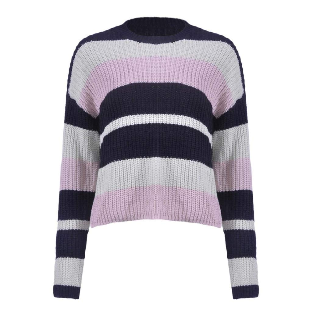 URIBAKE Women Winter Fashion Long Sleeve Knitted Patchwork Tops Loose  Sweater Blouse at Amazon Women s Clothing store  cdebec06e