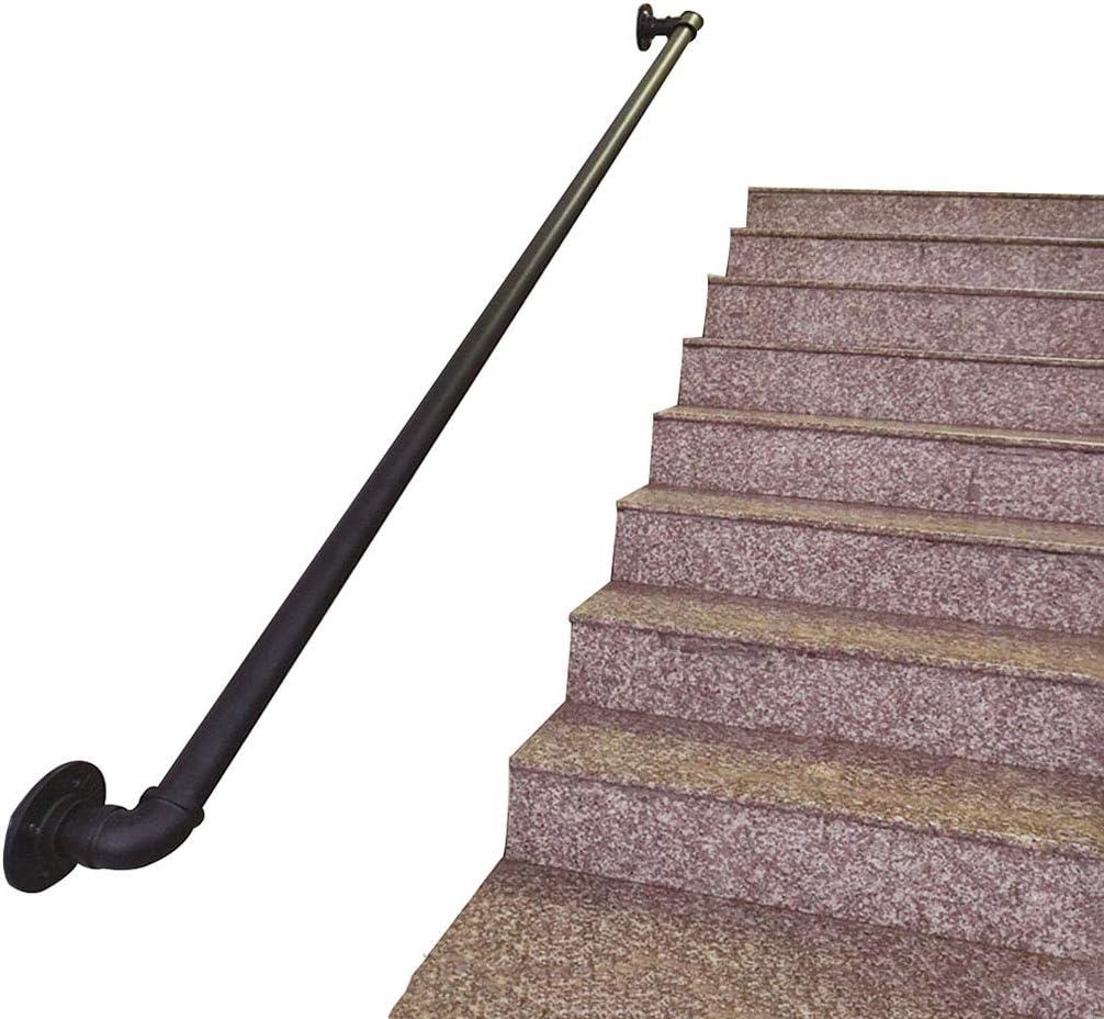 Baranda de Pared Escaleras Seguridad para Piscina Juego de Soporte de barandilla Negro | para discapacitados, Ancianos o niños en el Exterior Interior | tubería Hierro Forjado de Metal: Amazon.es: Hogar