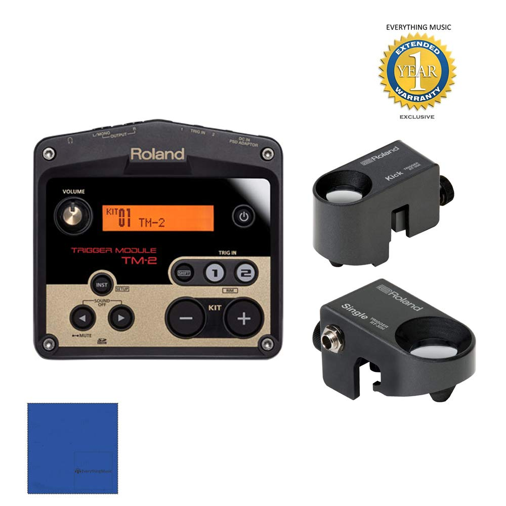 Roland TM2 Trigger Module with Roland RT-30K Acoustic Drum Trigger & (2) Roland RT-30H Triggers Bundle with 1 Year Free Extended WarrantyandMicrofiber