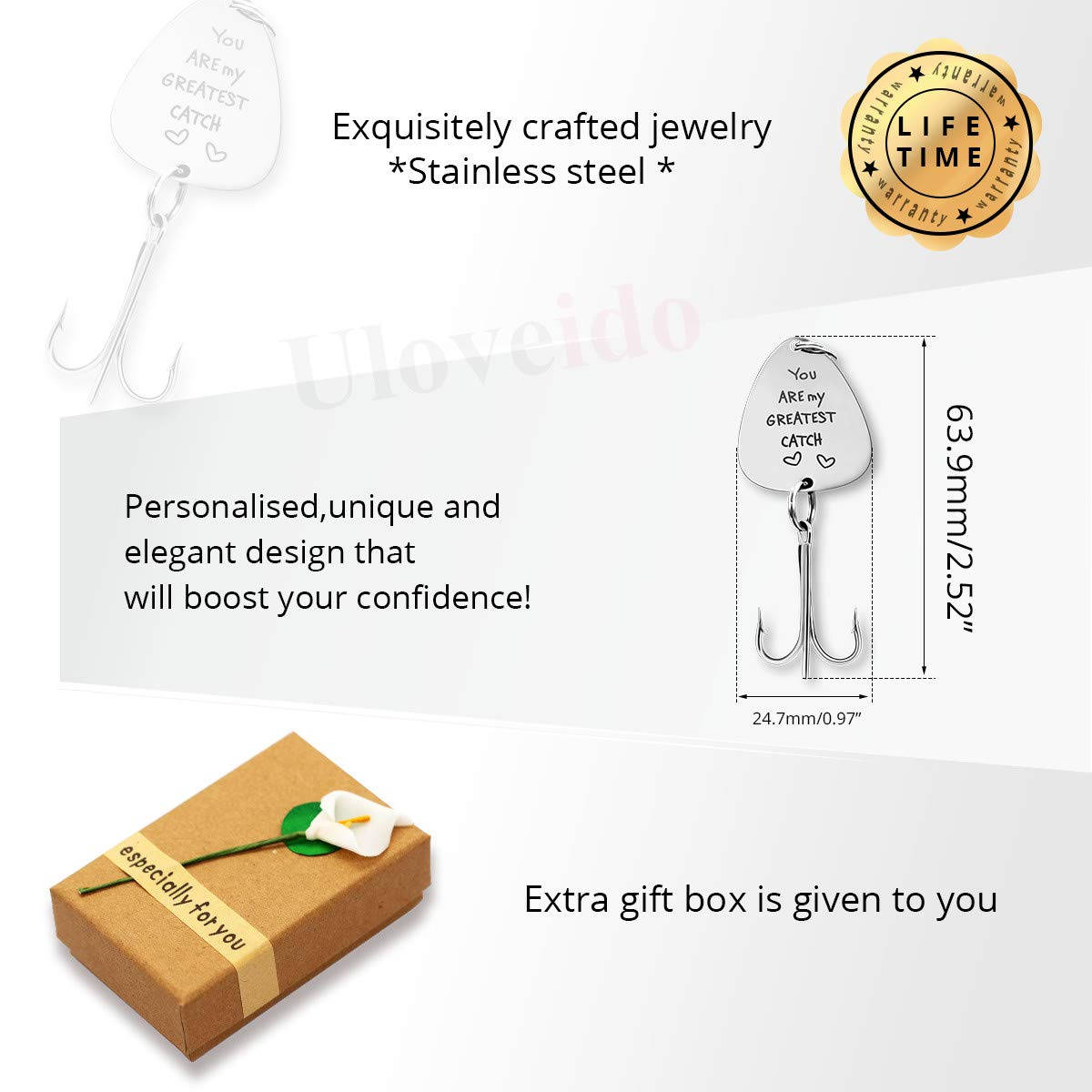 Uloveido Stainless Steel Treble Fishhooks Fishing Circle Hooks with Gift Box for Men Husband Dad Christmas New Year Gift Y578