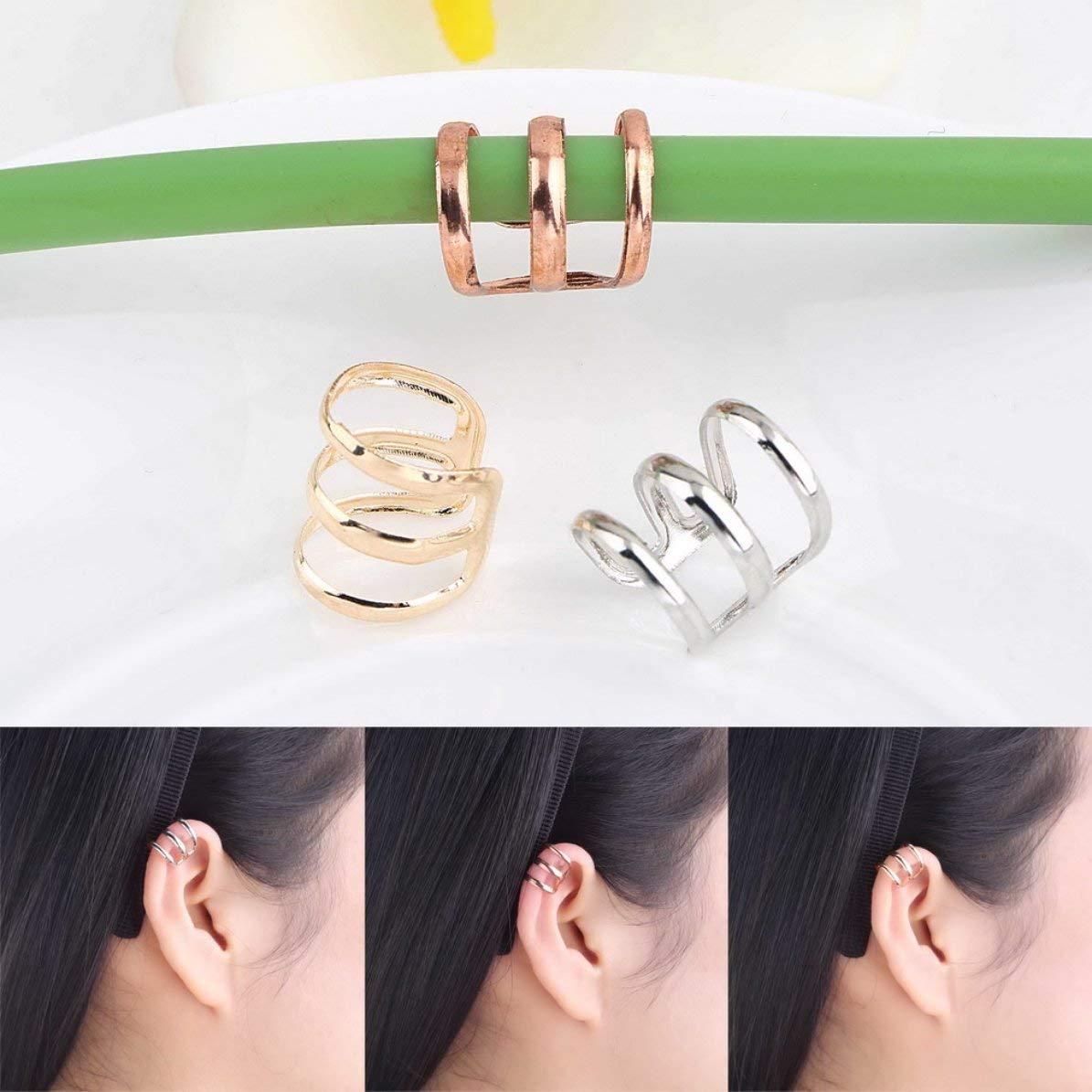 Corneliaa 2 unids Punk Rock Ear Ear Cuff Wrap Pendientes Clip no Piercing-Clip en Plata Chapado En Oro Plateado Bronce Mujeres Hombres Joyer/ía del Partido