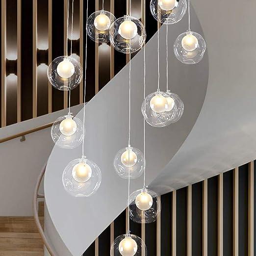 Lámpara colgante escalera araña larga bola de cristal capa de salto villa decoración lámpara 15 cabeza disco diámetro 60 cm fila aleatoria: Amazon.es: Hogar
