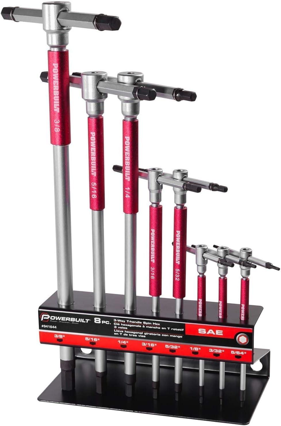 Powerbuilt SAE T-Handle Hex Allen Key Wrench Set w/ Speed Sleeves