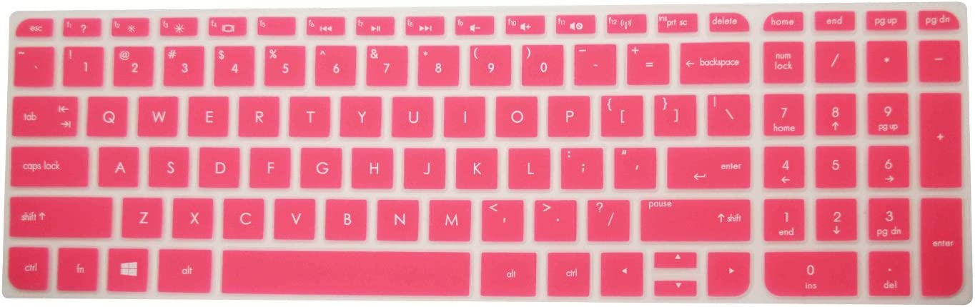 """PcProfessional Hot Pink Ultra Thin Silicone Gel Keyboard Cover for HP 15.6"""" Laptop with Application Kit (Please Compare Keyboard Layout and Model)"""
