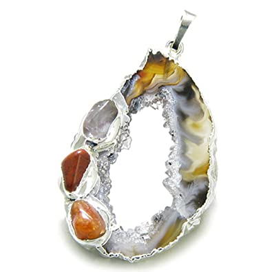 fc62a6351 Amazon.com: Brazilian Lucky Agate Slice Charm with Multi Tumbled Gemstones  Amulet Pendant: Pendant Necklaces: Jewelry
