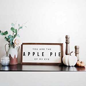 BYRON HOYLE You are The Apple Pie of My Eye Framed Wood Sign, Wooden Wall Hanging Art, Inspirational Farmhouse Wall Plaque, Rustic Home Decor for Nursery, Porch, Gallery Wall, Housewarming