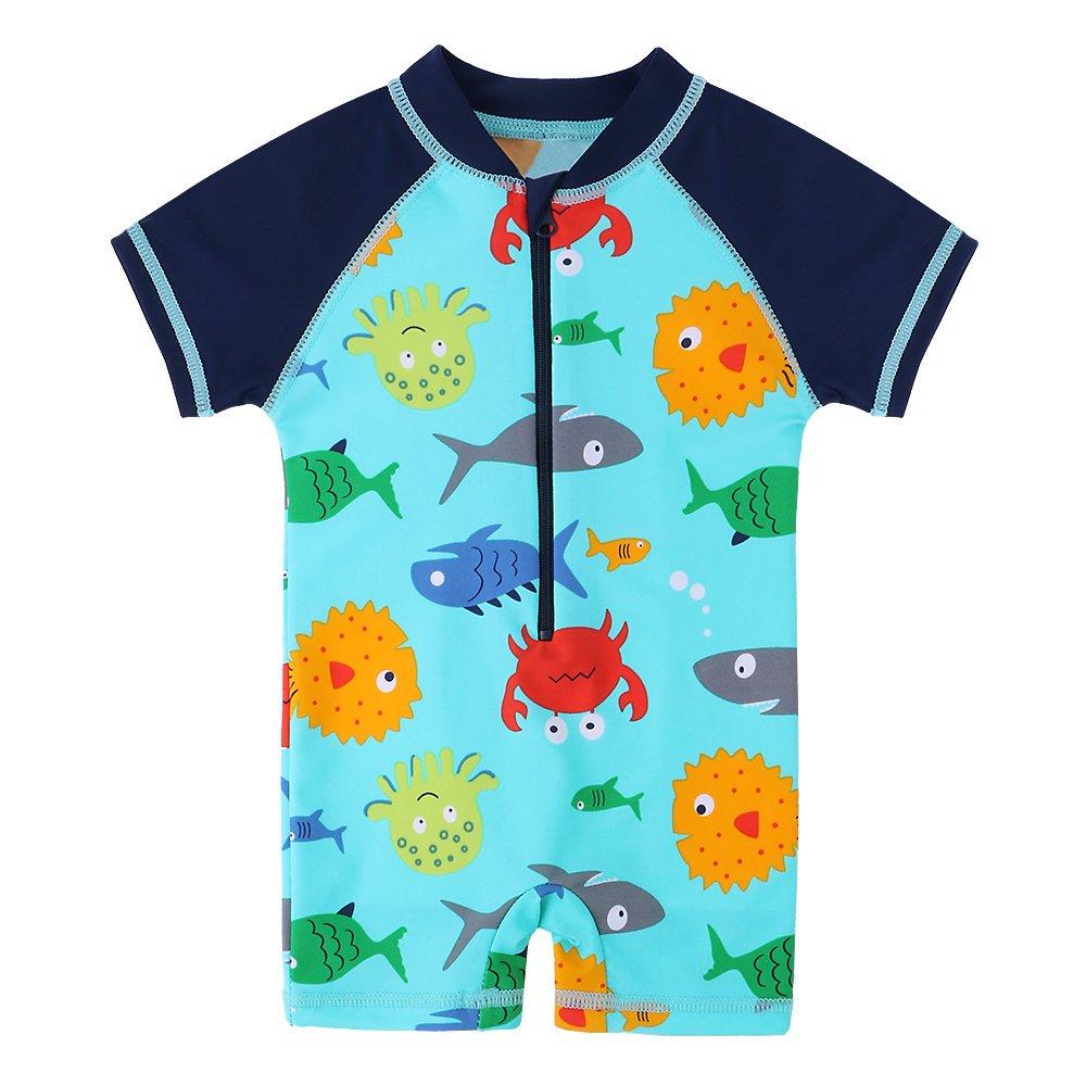 HUAANIUE Baby ragazzi muta da surf Rash Guard Swimsuit Swimwear One Piece maniche corte, con protezione solare UPF 50+ 6m-4y nuoto Balneazione Beachwear S287