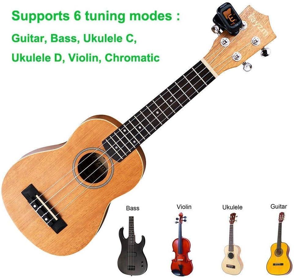 Rayzm Afinador para Guitarra/Bajo/Ukelele/Violin/Cromático: Amazon ...