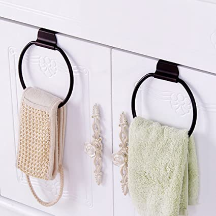 round over door towel hanger hook towel drying rack bath towel holder ring for kitchen bathroom drawer heavy duty metal pack of 2 rh amazon com bathroom towel hanger plastic bathroom towel hanger images