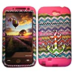 Cellphone Trendz Samsung Galaxy Note 2 N7100- HARD & SOFT RUBBER HYBRID ROCKER ARMOR CASE – Multi Color Anchor Chevron Tribal Design Hard Cover (Pink)