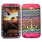 Cellphone Trendz Samsung Galaxy Note 2 N7100- HARD & SOFT RUBBER HYBRID ROCKER ARMOR CASE – Multi Color Anchor Chevron Tribal Design Hard Cover (Pink)
