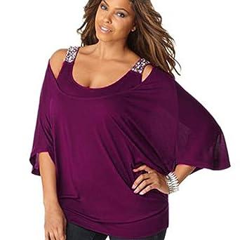 Oyedens Taglia Grossa T-Shirt da Donna Casual Abbigliamento Donne Cerniera Maglietta O-Neck Solido Taglia Casual Camicetta