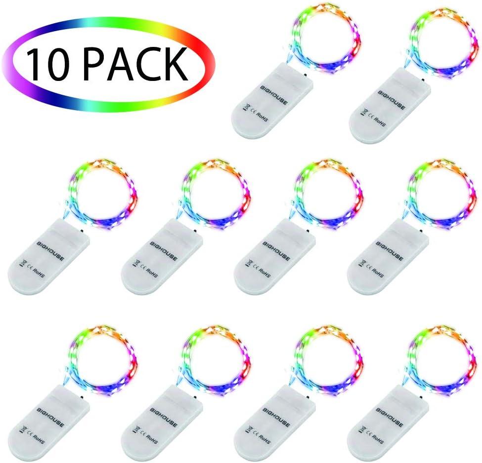 Guirlande Lumineuse LED F/ête Blanc Chaud 2M Vacances 10 Pack Interieur Exterieur Table Mariage Guirlande Lumineuse Pile No/ël pour Vase 20LEDs