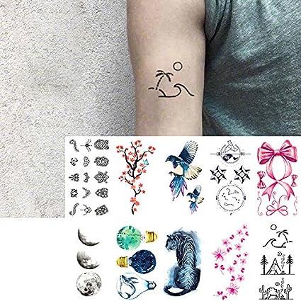 Oottati 10 Hojas Pequeñas Cute Dedo Tatuajes Temporales Plum Bird ...