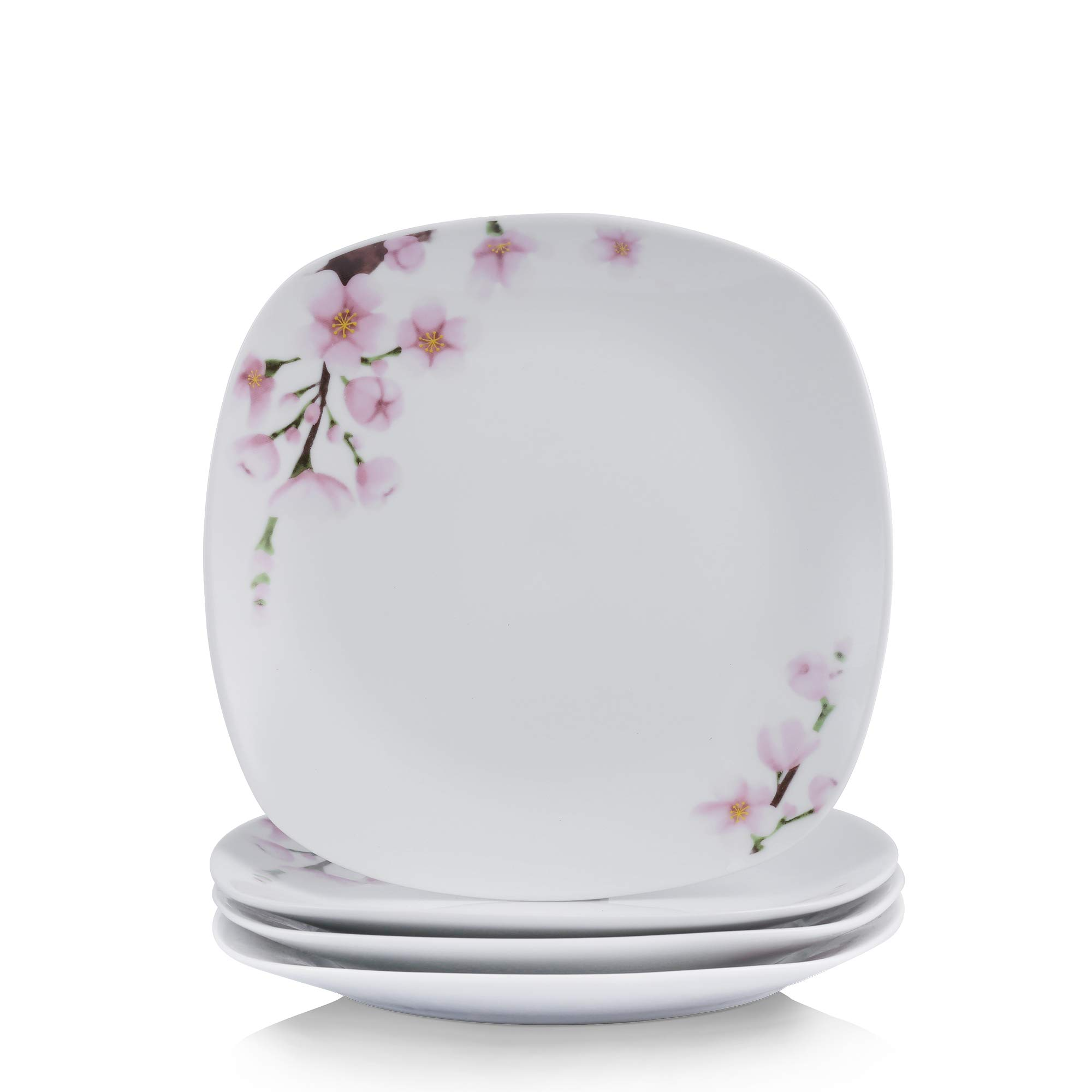 VEWEET 4-Piece Porcelain Dessert Plate Set, Durable Ivory White Bread 7-1/2 Inch Salad Plates ANNIE Series