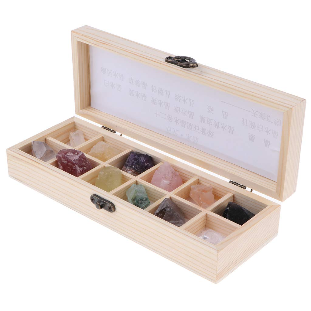 B Blesiya 12pcs/ Box Educational Geology Science Kit - Rock and Mineral Collection Gemstones / Quartz / Crystal Specimens in a Display Wooden Case