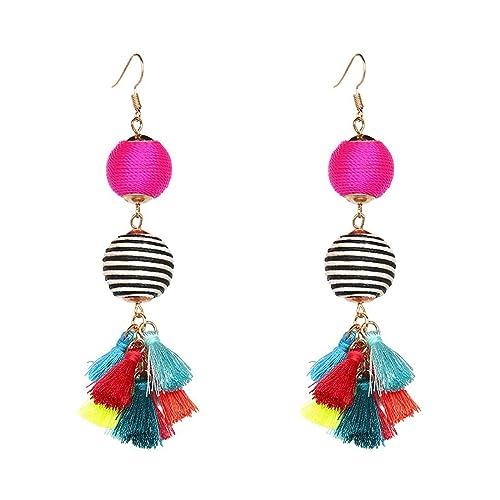 dfcab68dc04d9 Thread Ball Dangle Earrings Bohemian Statement Thread Tassel Earrings for  Women Dangling