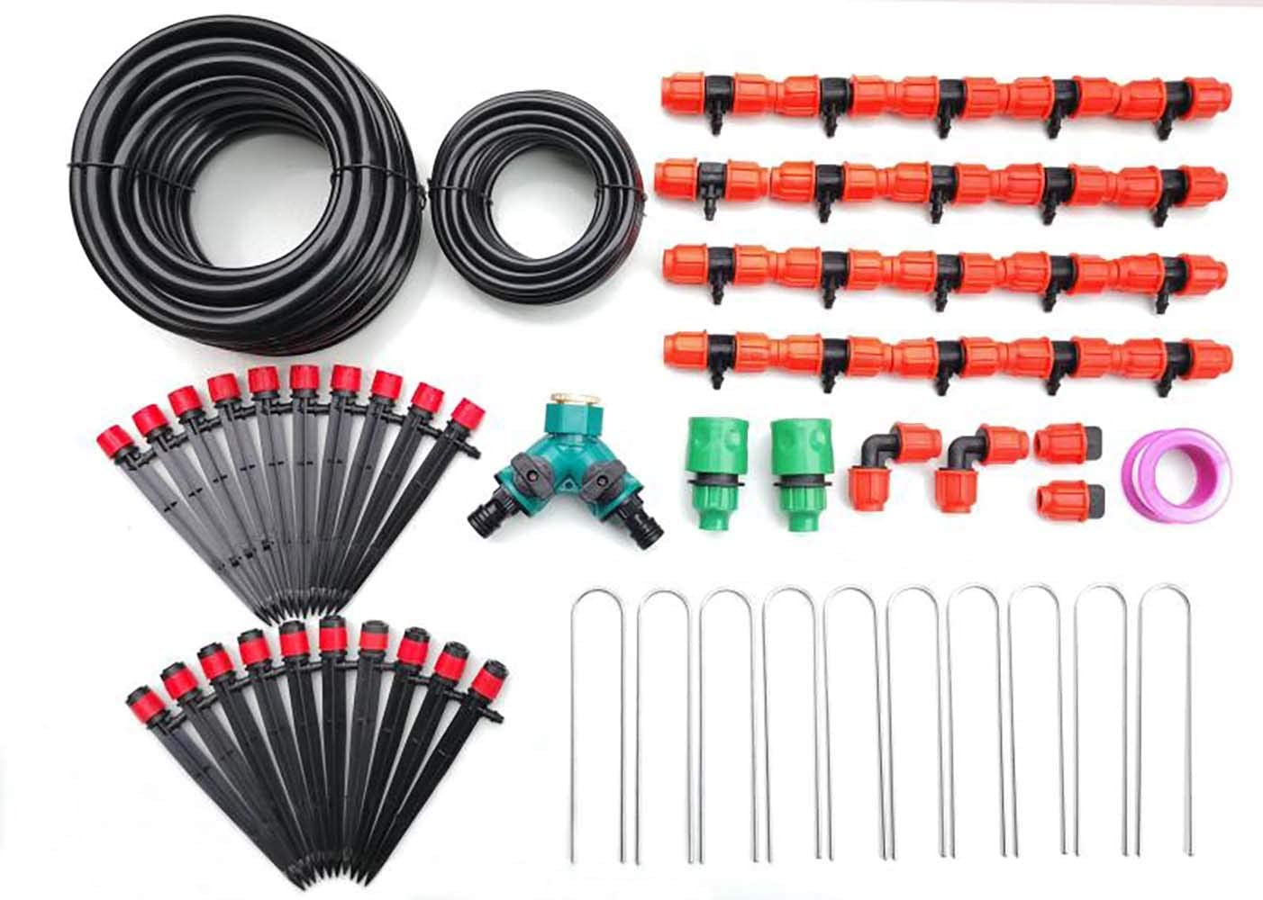 """ZILIM Drip Irrigation Kit/DIY Saving Water Automatic Irrigation Equipment Set, Durable 1/2"""" Main Tubing & 1/4"""" Branch Tubing Hose 33 FT Each, Equipment For Garden Greenhouse, Flower Bed,Patio,Lawn"""