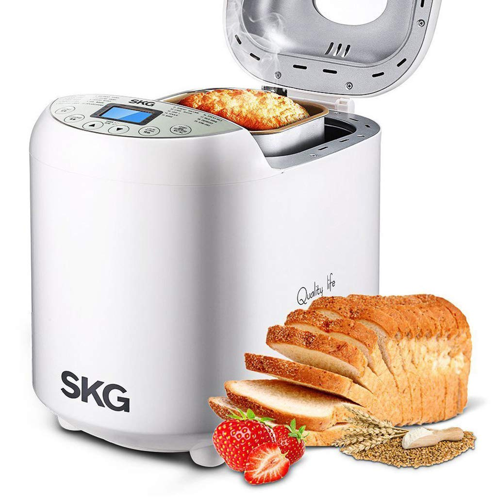 SKG 3920 Automatic Bread Machine with Recipes Multifunctional Loaf Maker for Beginner Friendly – White