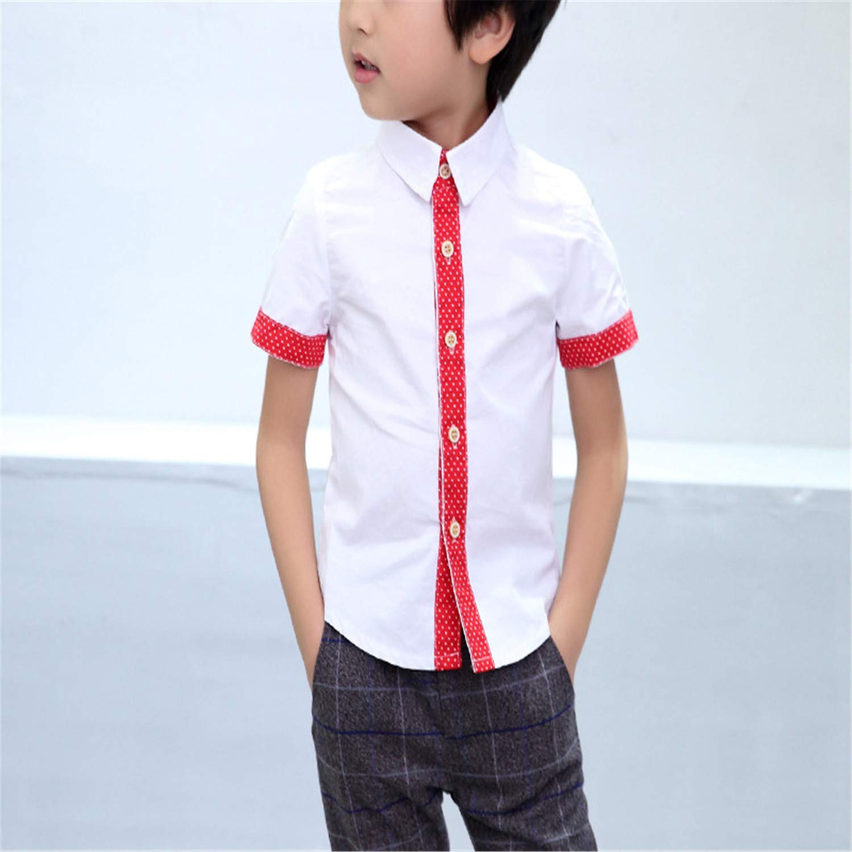 Jwhui Boys Summer Dress Shirts Children Wedding Party Shirt Kids Boy Cotton Blouses Clothes