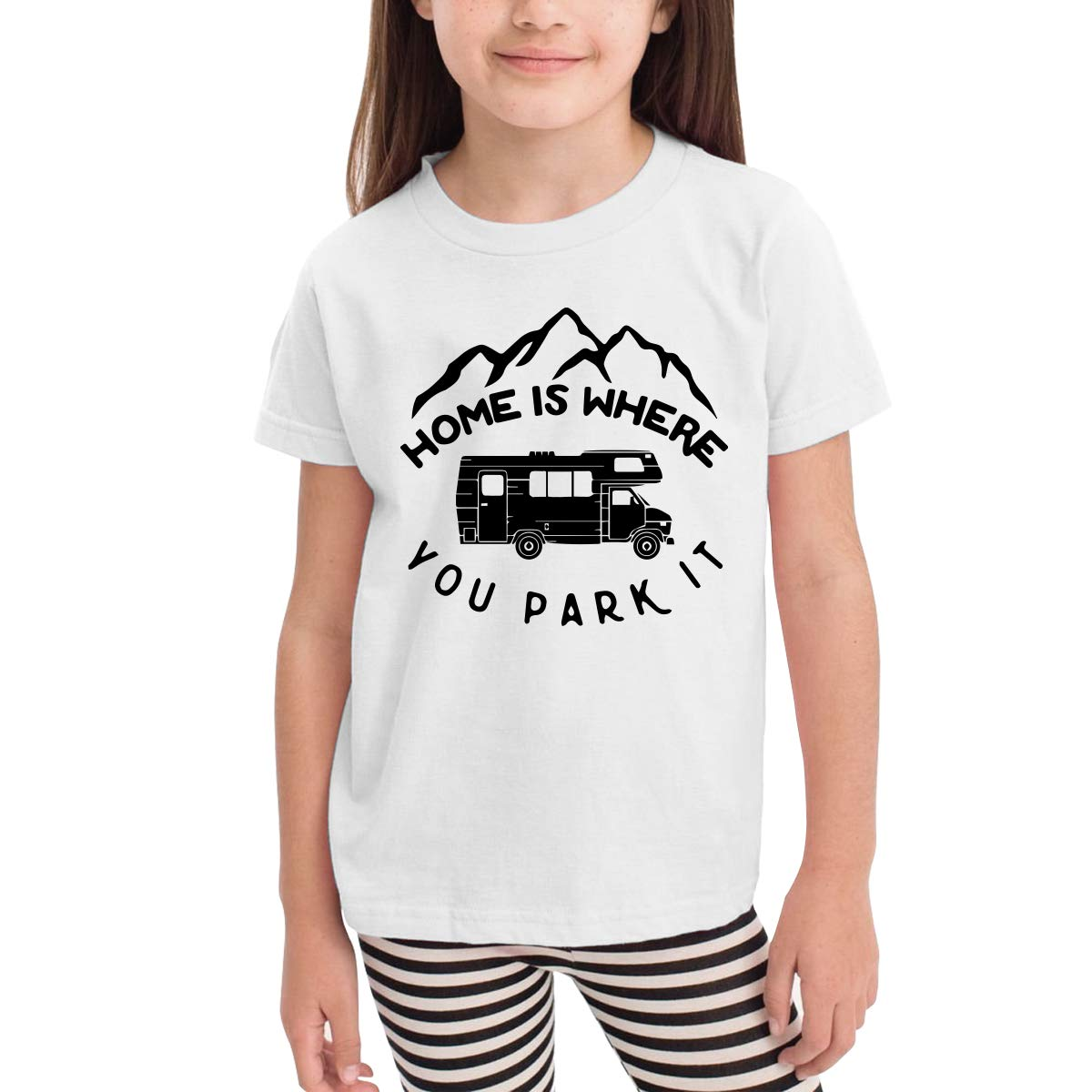 CERTONGCXTS Little Boys Home is Where You Park It Cute Short Sleeve Tee Shirt Size 2-6