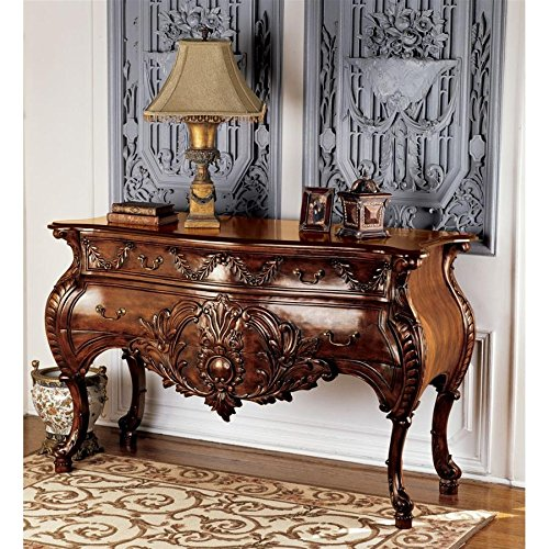 Design Toscano AF2148 Le Piccard Bombe Console Table with Drawers, 58 Inch, Walnut