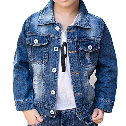Kids Denim Jacket (Oushiny Unisex Kids' Ripped Denim Jacket Cute Kids' Outerwear S3,7-8)