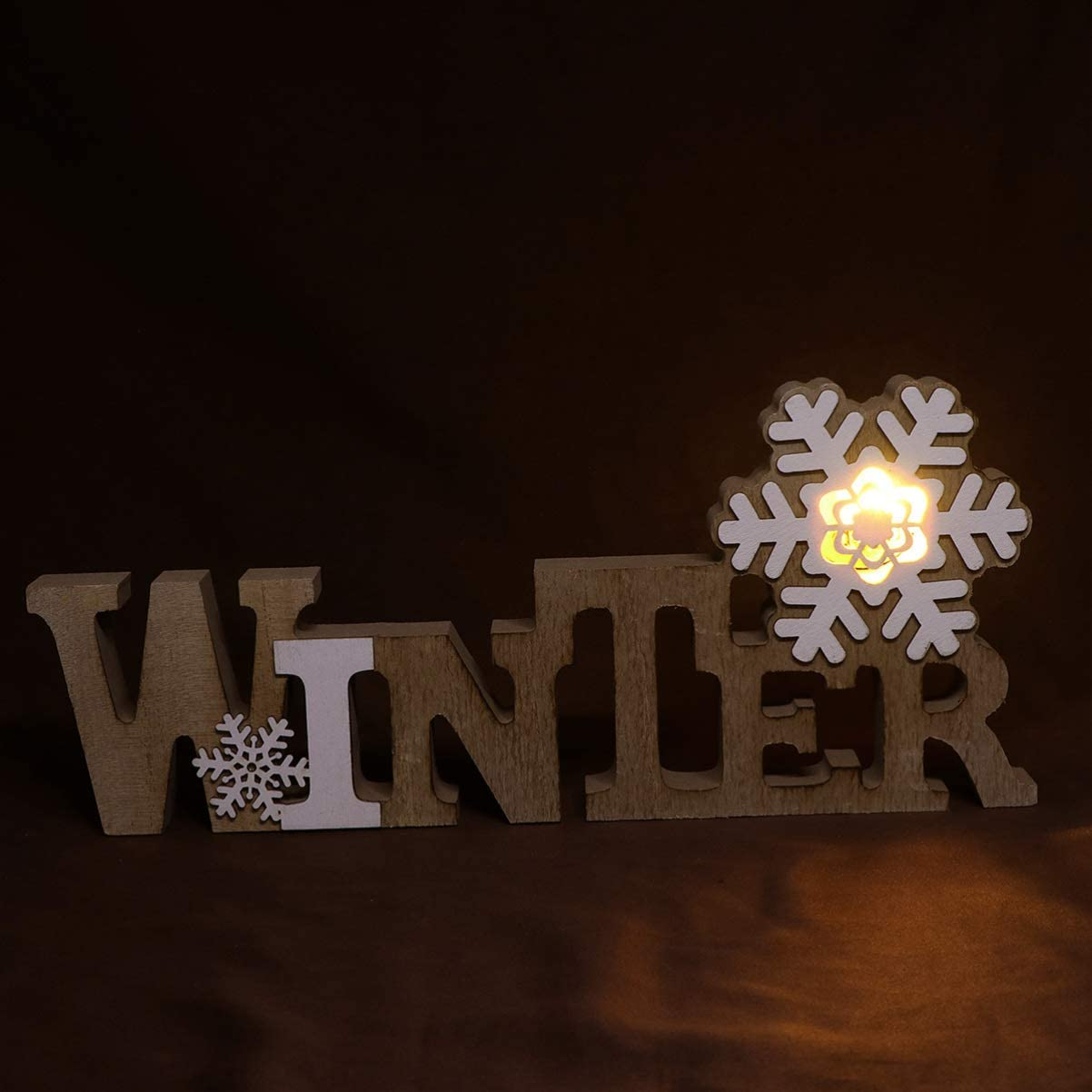 LIOOBO Winter LED Marquee Letter Light Up Snowflake Letters Christmas Holiday Table Centerpiece Vintage Christmas Decorations