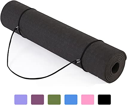 Amazon Com Eco Friendly Yoga Mat 6mm Non Slip Odorless Durable Exercise Mats Tpe Material Fitness Mats 72 X 24 Black Sports Outdoors