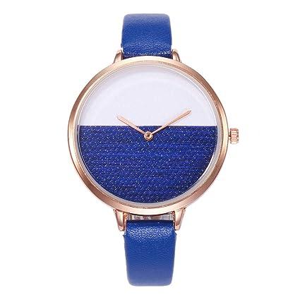 Relojes de pulsera de moda para mujer, esfera redonda de cuarzo de doble color,