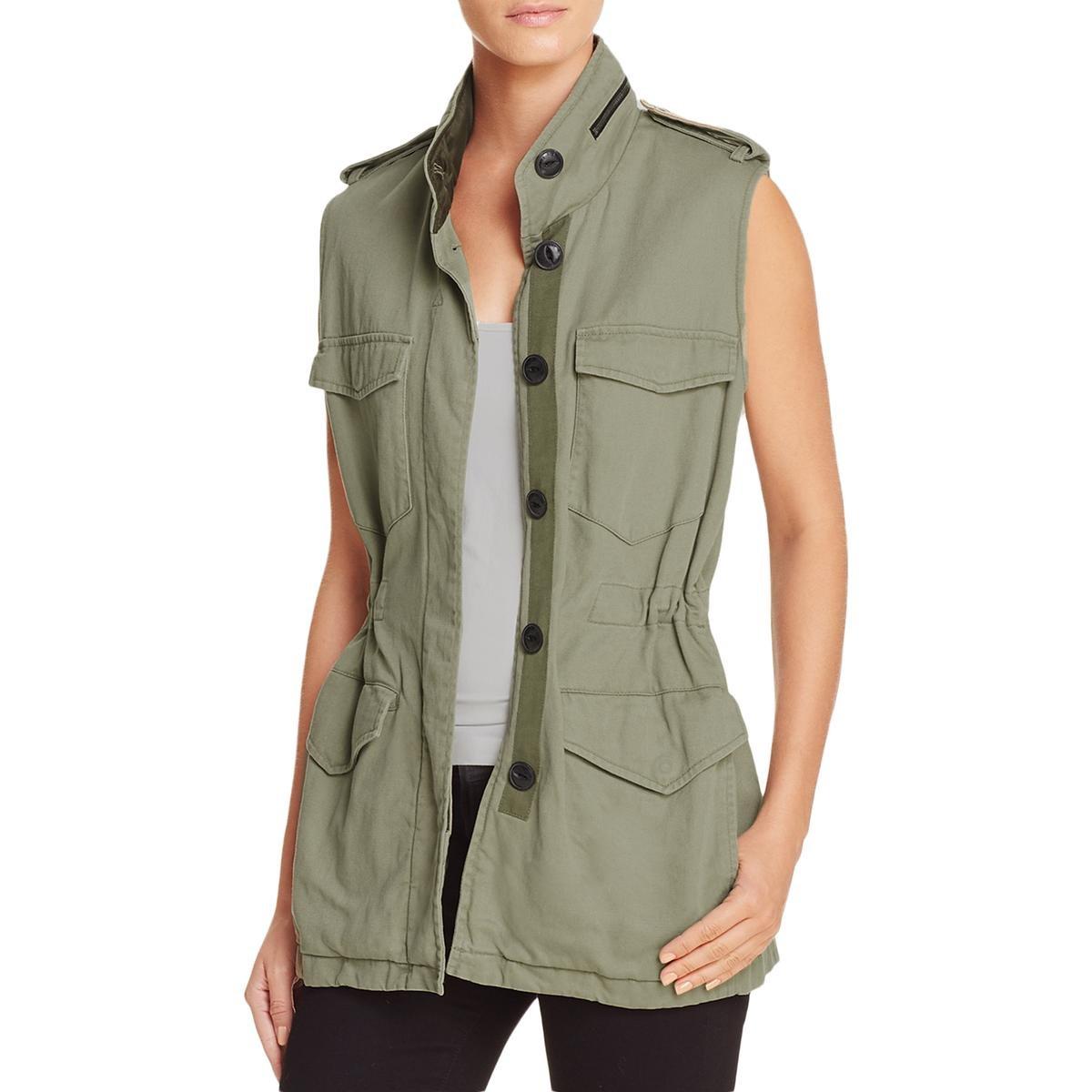 rag & bone Womens Bennet Cotton Satin Collar Vest Green S