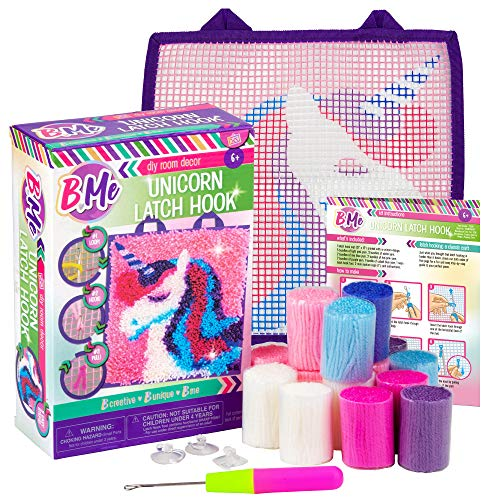 B Me Ultimate Unicorn Latch Hook Kit for Kids – Fun DIY Mini Rug Sewing Set for Girls with Colorful Yarn Bundles, Color-Coded Canvas, Latch Hook Tool & Easy-Hang Suction Cups – DIY Bedroom Décor Idea ()