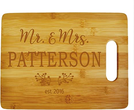 Custom Mr Mrs Cutting Board Wood Engraved Cutting Board Personalized Bamboo Cutting Board Custom Wedding Gifts Anniversary Gift Personalized Kitchen Supplies Kitchen Dining