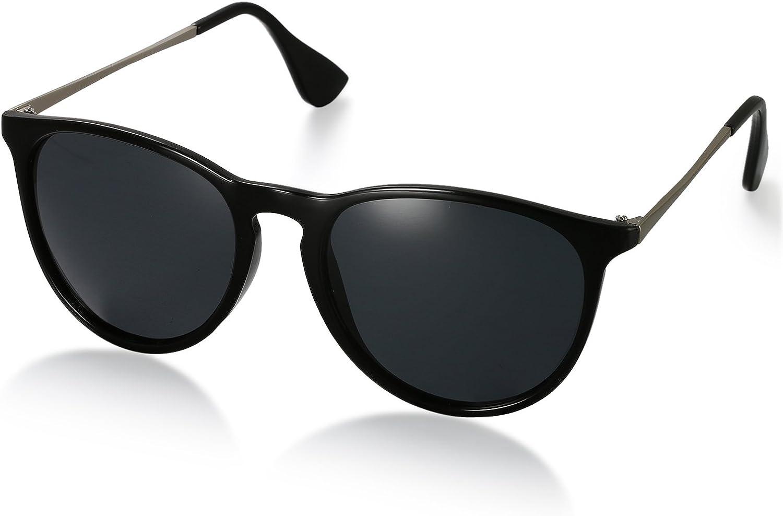 Aroncent Gafas de Sol Polarizada de Moda contra UV400 Sunglasses Lente Clásica Protección de Ojos para Viaje, Golf, Conducción, Ciclismo y Actividades Exteriores para Hombre Mujer Unisex (Negro)