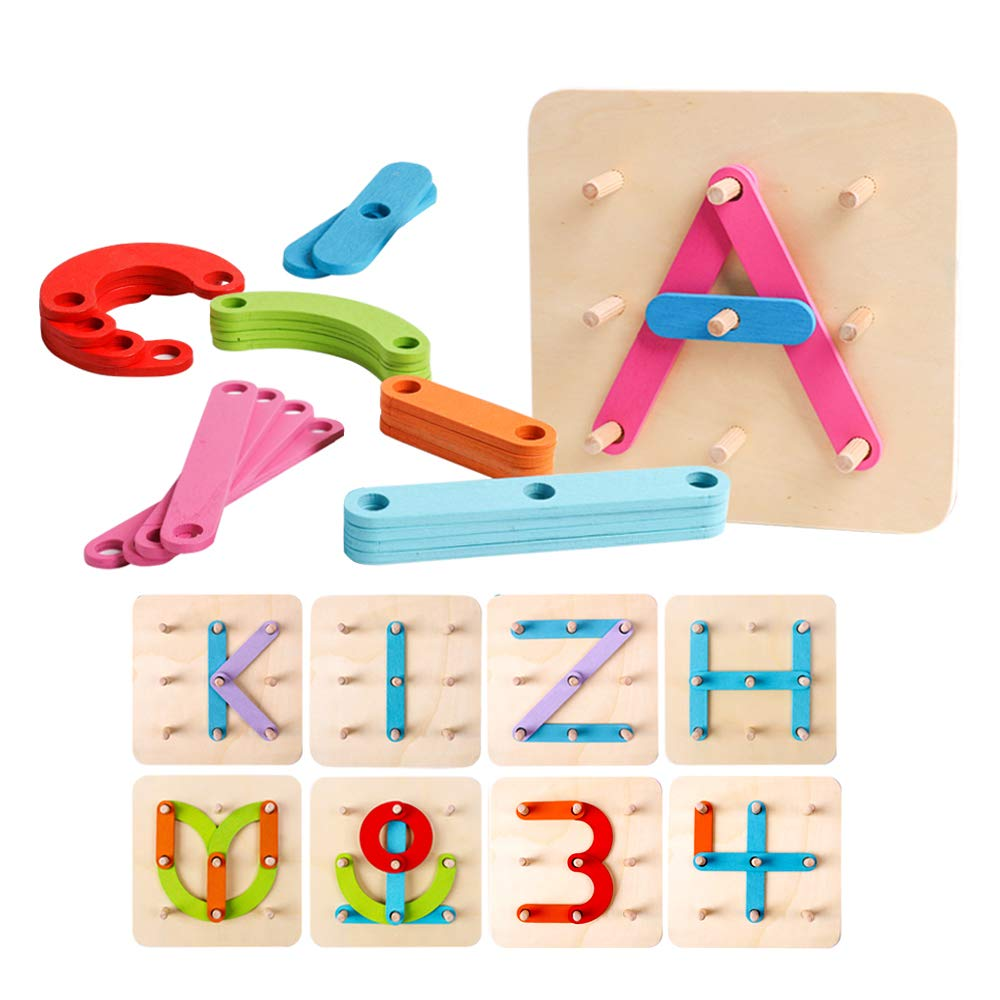 kizh Wooden Letter and Number Construction Activity Set Educational Preschool Toys Shape Color Recognition Pegboard Sorter Set Board Blocks Stack Sort for Toddler Kids Boys Girls Non-Toxic Toy