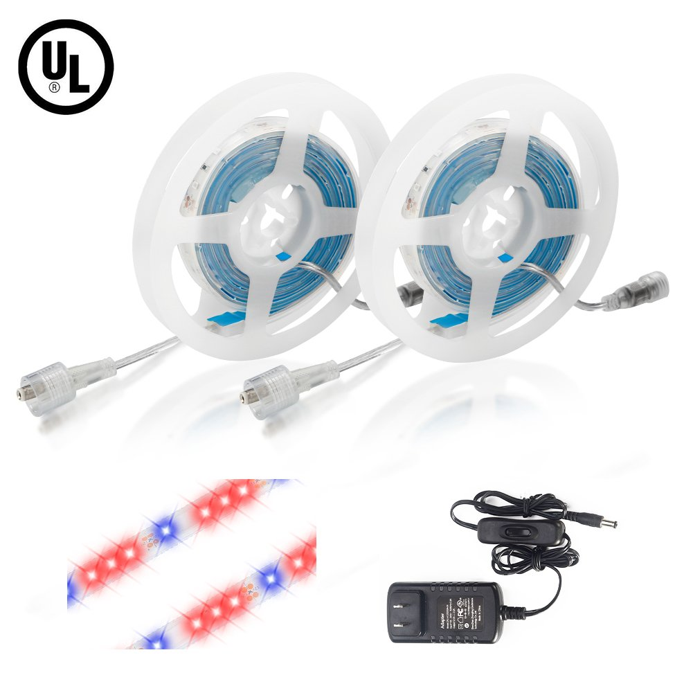 Litake LED Grow Light, 24W 6.6ft 5050 Waterproof Flexible Soft Strip Grow Light for Plant Flower Herbs Seeds Seedlings Growing Red Blue 3:1, Adapter with Hand Switch