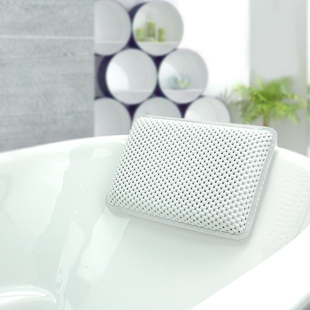 Spa Bath Pillow, SHZONS PVC Foam Waterproof Sponge Bath Pillow Waterproof Children Bathtub Shampoo Pillow Cushion Headrest, Fits any Tub, Anti-Bacterial, 11.42×7.48×1.97 inch