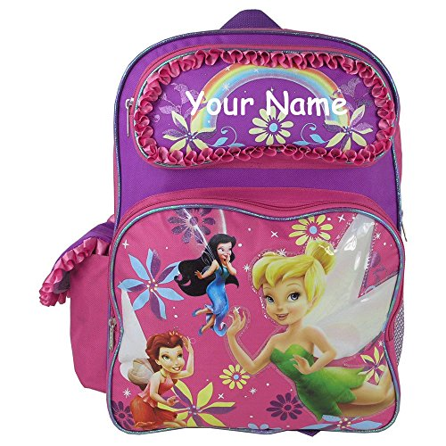 Disney Personalized Books - Personalized Disney Fairies Shimmering Pink and Purple Backpack Book Bag Back to School - 16 Inches