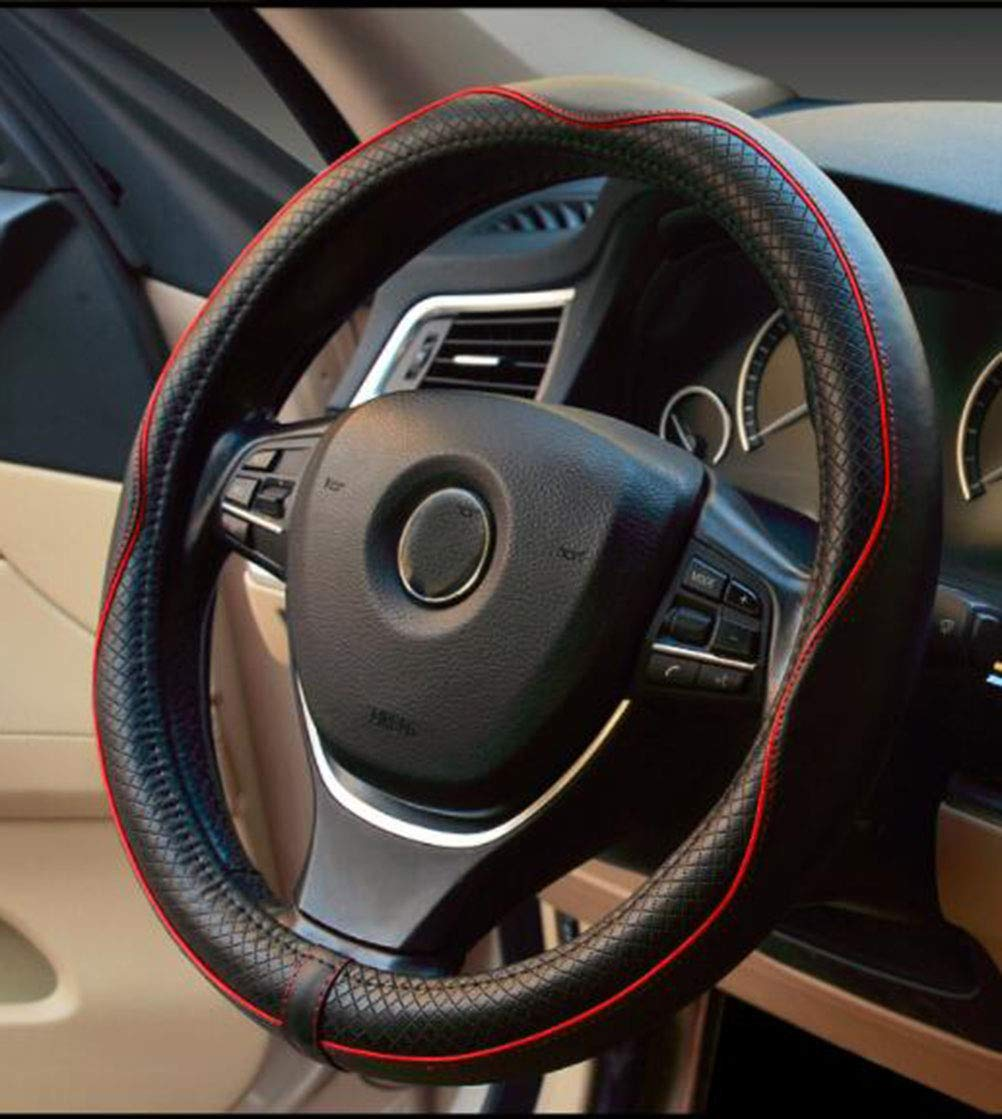 Istn Microfiber Leather Car Steering wheel Cover 15 inches Black Gray