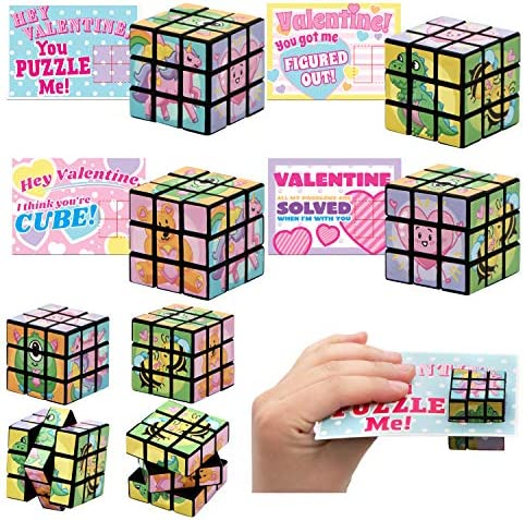 28 Pcs Valentines Day Cards with Magic Speed Cubes Magic Cube Puzzle Games for Kids Valentine Party Favor, Valentine's Greeting Cards, Valentine's Classroom Exchange Prizes
