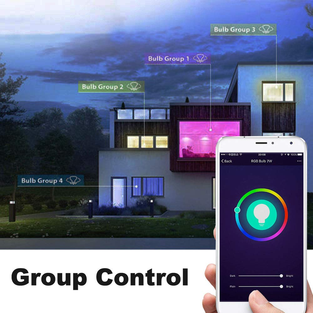 Smart Light Bulb,LED WiFi Light Bulbs,Dimmable Multicolored LED Light Bulbs,Smartphone Controlled Daylight & Night Light,Works with Google Assistant/IFTTT,7W Home Lighting, E27 Base by Foreet (Image #5)