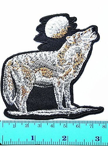 Indian Costume No Sew (Lone Wolf No Clubs Patch Indian Feather Full Moon Lone Wolf Fox Dog Wild Animal Choppers Lady Rider Biker Tatoo Jacket T-shirt Patch Sew Iron on Embroidered Sign Badge Costume)
