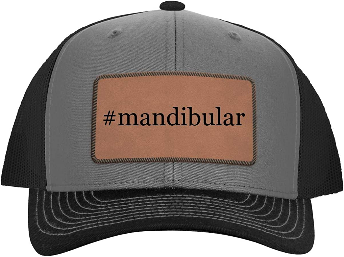 One Legging it Around #Mandibular - Hashtag Leather Dark Brown Patch Engraved Trucker Hat