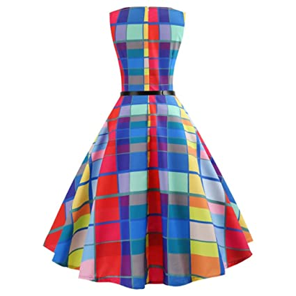Janly Swing Dress for Woman 1950s Vintage Colorful Plaid Printing Dresses Ladies Evening Party Prom Hepburn Dress: Amazon.co.uk: Sports & Outdoors