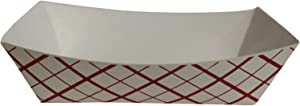 SouthLand RP50, 0.5-Lbs White Paper Food Trays, Disposable Serving Dishes, Take Out Striped Catering Platters (100)