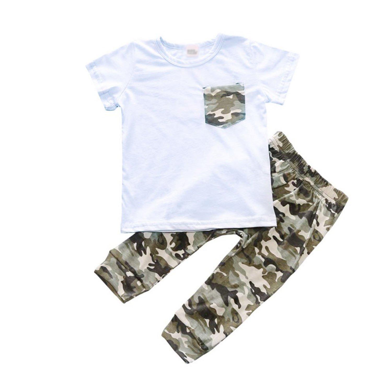 Zcaosma Boys Girls Cotton Suit Kids Baby T-Shirt + Trousers Two-Piece Newborn Clothes,White,24M
