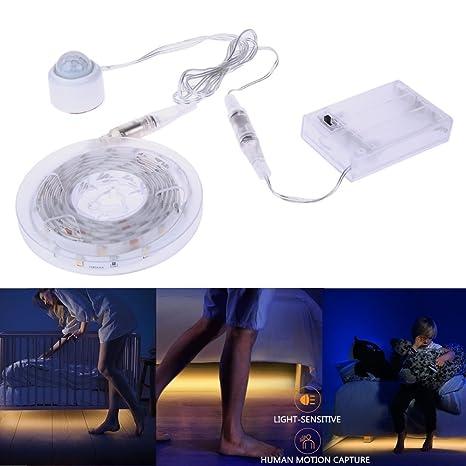 aitsite PIR sensores movimiento activado LED tira de luz cama con Smart LED con temporizador de