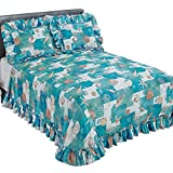 Coastal Seashell Décor Patchwork Plissé Ruffled Edge Bedspread, Blue, King