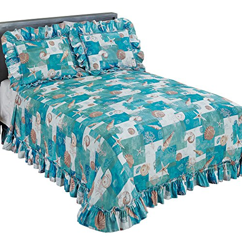 Collections Coastal Seashell Décor Patchwork Plissé Ruffled Edge Bedspread, Blue, Full ()